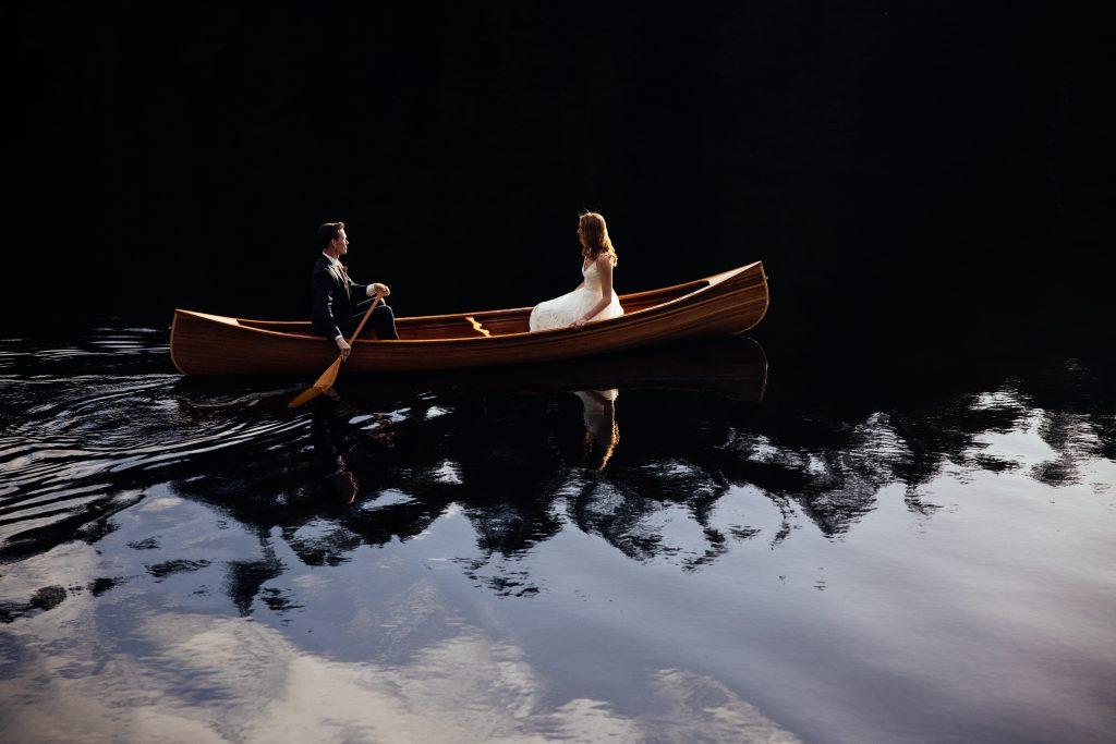 Newly Wed Couple on a Canoe