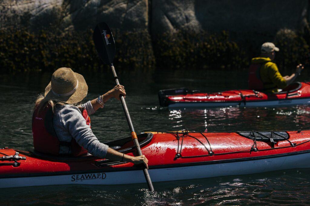 Ocean kayaking at Nimmo Bay